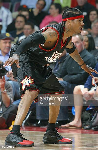 Allen Iverson of the Philadelphia 76ers plays defense against the Detroit Pistons in Game two of the Eastern Conference Quarterfinals during the 2005...