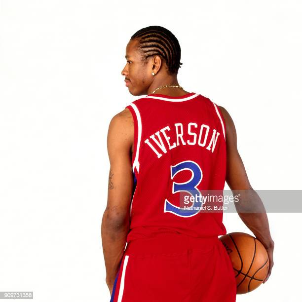 Allen Iverson of the Philadelphia 76ers poses for a portrait circa 1997 in Philadelphia Pennsylvania NOTE TO USER User expressly acknowledges and...