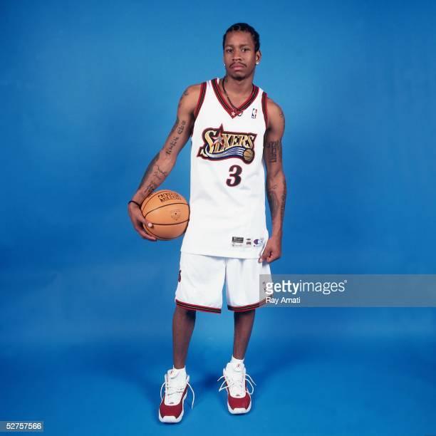 Allen Iverson of the Philadelphia 76ers poses for a portrait during media day on September 30 2000 in Philadelphia Pennsylvania NOTE TO USER User...