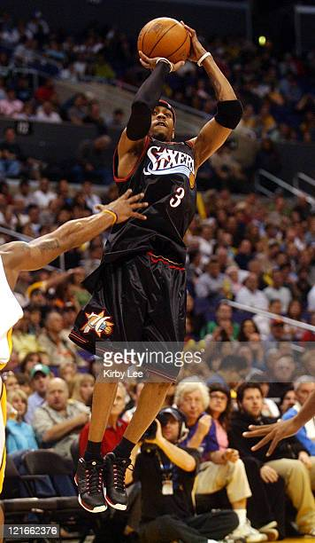 Allen Iverson of the Philadelphia 76ers pulls up for a jump shot during the NBA game between the Los Angeles Lakers and the Philadelphia 76ers at the...
