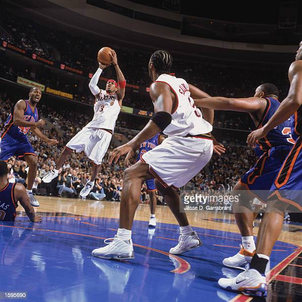 Allen Iverson of the Philadelphia 76ers puts up a jump shot during their game against the New York Knicks at First Union Center on November 1 2002 in...