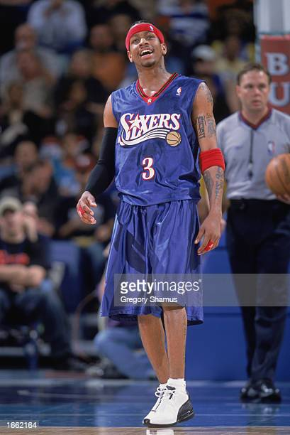 Allen Iverson of the Philadelphia 76ers reacts to the call during the game against the New Orleans Hornets at New Orleans Arena on November 19 2002...