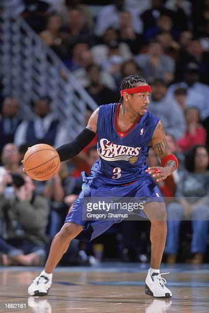 Allen Iverson of the Philadelphia 76ers sets up the play during the game against the New Orleans Hornets at New Orleans Arena on November 19 2002 in...