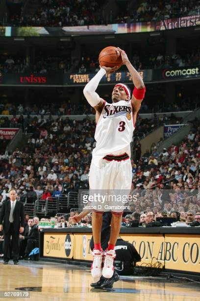 Allen Iverson of the Philadelphia 76ers shoots a jump shot against the Detroit Pistons during Game three of the Eastern Conference Quarterfinals on...