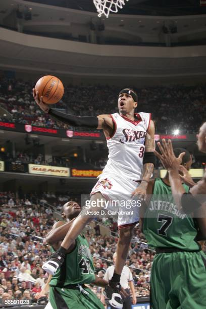 Allen Iverson of the Philadelphia 76ers shoots against Al Jefferson of the Boston Celtics on January 13 2006 at the Wachovia Center in Philadelphia...