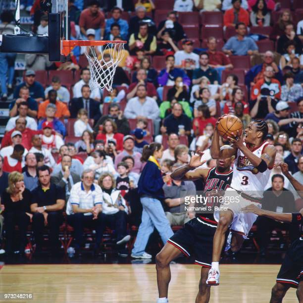 Allen Iverson of the Philadelphia 76ers shoots against the Chicago Bulls during a game played on April 17 1998 at the First Union Arena in...