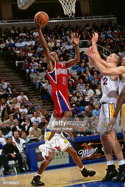 Allen Iverson of the Philadelphia 76ers shoots against the Golden State Warriors on January 3, 1997 at the Arena in Oakland in Oakland, California....