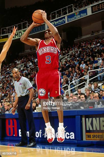 Allen Iverson of the Philadelphia 76ers shoots against the Golden State Warriors on January 3 1997 at the Arena in Oakland in Oakland California NOTE...