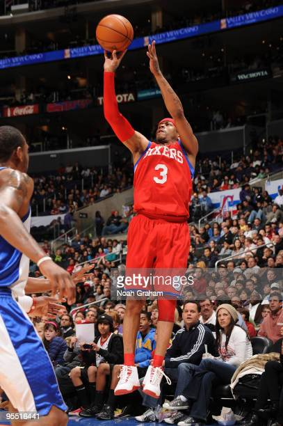 Allen Iverson of the Philadelphia 76ers shoots against the Los Angeles Clippers at Staples Center on December 31 2009 in Los Angeles California NOTE...
