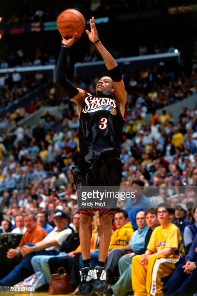 Allen Iverson of the Philadelphia 76ers shoots against the Los Angeles during Game One of the 2001 NBA Finals on June 6, 2001 at Staples Center in...