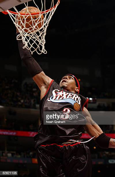 Allen Iverson of the Philadelphia 76ers shoots against the Los Angeles Lakers during the game on March 27 2005 at the Staples Center in Los Angeles...