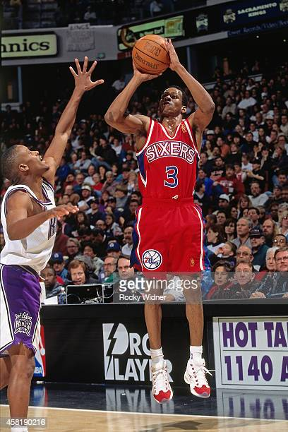 Allen Iverson of the Philadelphia 76ers shoots against the Sacramento Kings on January 5 1997 at Arco Arena in Sacramento California NOTE TO USER...