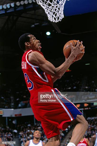 Allen Iverson of the Philadelphia 76ers shoots against the Sacramento Kings on January 5, 1997 at Arco Arena in Sacramento, California. NOTE TO USER:...