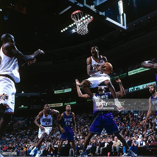 Allen Iverson of the Philadelphia 76ers shoots against the Sacramento Kings on February 6 2000 at the Wachovia Center in Philadelphia Pennsylvania...
