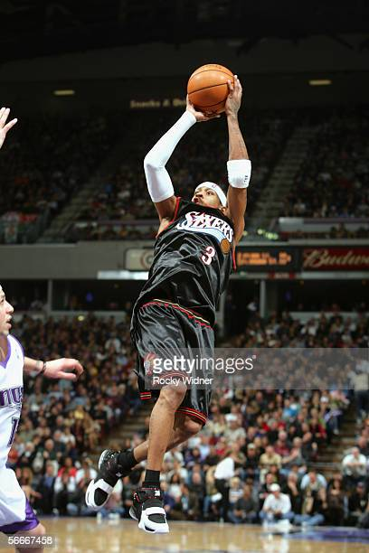 Allen Iverson of the Philadelphia 76ers shoots against the Sacramento Kings during the game at Arco Arena on January 2 2005 in Sacramento California...