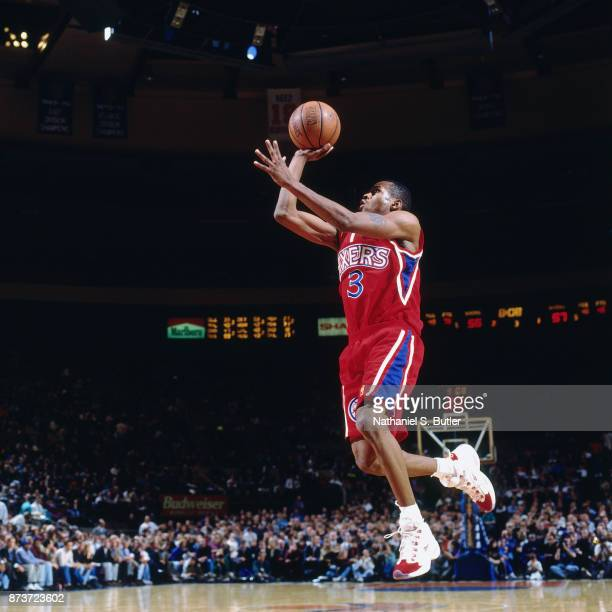 Allen Iverson of the Philadelphia 76ers shoots during a game played on November 12, 1996 at Madison Square Garden in New York City . NOTE TO USER:...