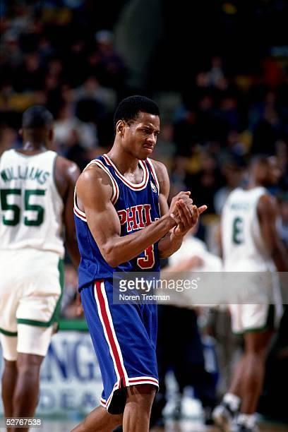 Allen Iverson of the Philadelphia 76ers shows some emotion during a break in play against the Boston Celtics in their NBA game at Boston Garden on...