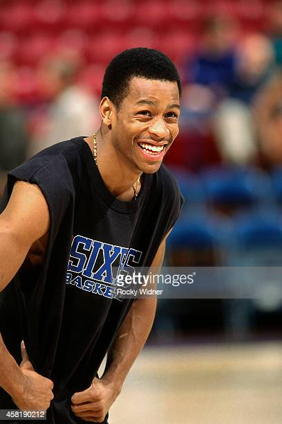 Allen Iverson of the Philadelphia 76ers smiles against the Sacramento Kings on January 5, 1997 at Arco Arena in Sacramento, California. NOTE TO USER:...