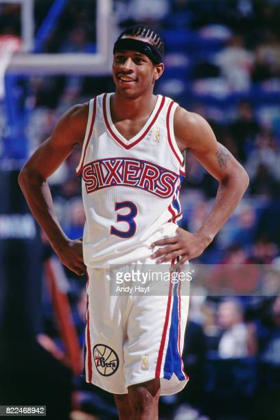Allen Iverson of the Philadelphia 76ers smiles during the 1997 Rookie Game played February 8 1997 at the Gund Arena in Cleveland Ohio NOTE TO USER...