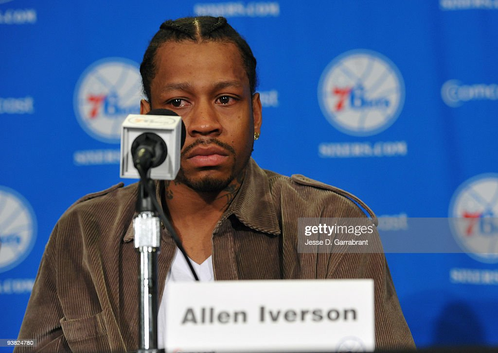 Allen Iverson of the Philadelphia 76ers speaks with the media during the press conference on December 3, 2009 at the Wachovia Center in Philadelphia, Pennsylvania.