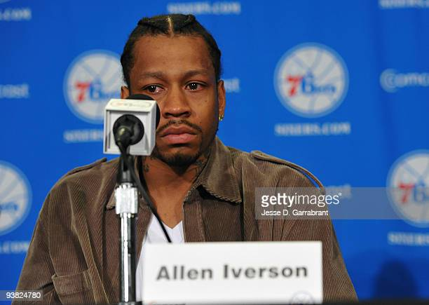 Allen Iverson of the Philadelphia 76ers speaks with the media during the press conference on December 3 2009 at the Wachovia Center in Philadelphia...