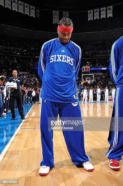 Allen Iverson of the Philadelphia 76ers stands for the national anthem before the game against the Denver Nuggets on January 3 2010 at the Pepsi...
