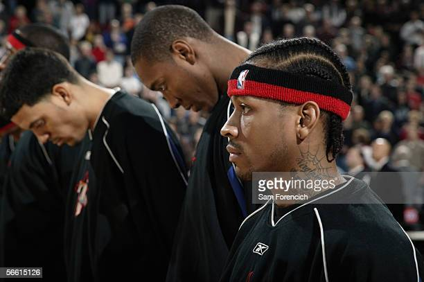 Allen Iverson of the Philadelphia 76ers stands on the court before the game with the Portland Trail Blazers on December 28 2005 at the Rose Garden...