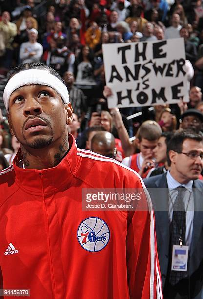 Allen Iverson of the Philadelphia 76ers stands on the court before the game against the Denver Nuggets on December 7 2009 at the Wachovia Center in...