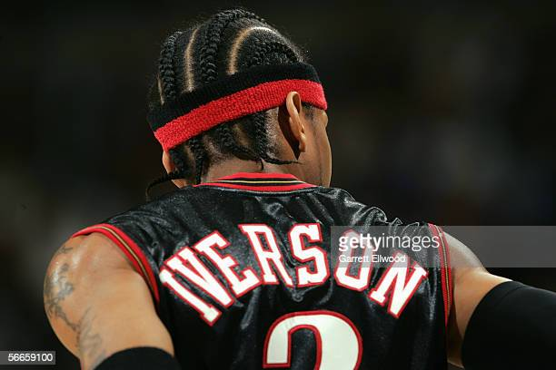 Allen Iverson of the Philadelphia 76ers stands on the court during the game with the Denver Nuggets on December 27 2005 at the Pepsi Center in Denver...