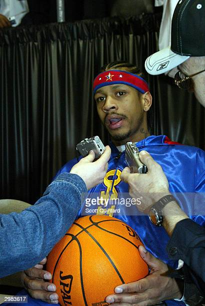 Allen Iverson of the Philadelphia 76ers talks to the media during the AllStar Practice part of the 2004 Jam Session on February 14 2004 at the Los...
