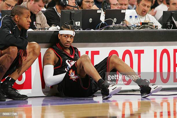 Allen Iverson of the Philadelphia 76ers waits to enter the game against the Sacramento Kings at Arco Arena on January 2 2005 in Sacramento California...