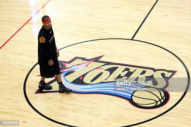 Allen Iverson of the Philadelphia 76ers walks along the court during Real Training Camp on October 19 2005 at the Philadelphia College of Osteopathic...