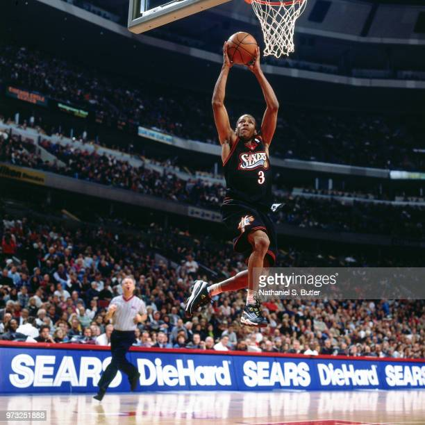 Allen Iverson of the Philidelphia 76ers dunks during a game played on November 1 1997 at the First Union Arena in Philadelphia Pennsylvania NOTE TO...