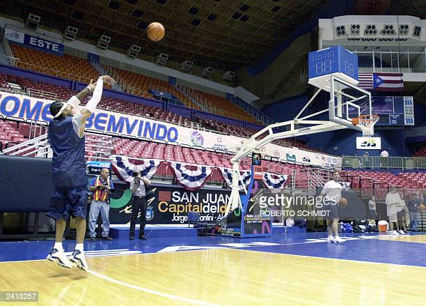 Allen Iverson of the USA Basketball Men's Senior National Team shoots a ball at the end of their practice session at the Roberto Clemente Coliseum 19...