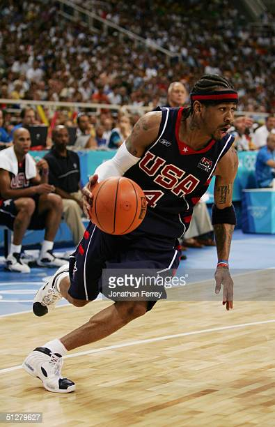Allen Iverson of the USA drives in the men's basketball quarterfinal game against Spain on August 26 2004 during the Athens 2004 Summer Olympic Games...