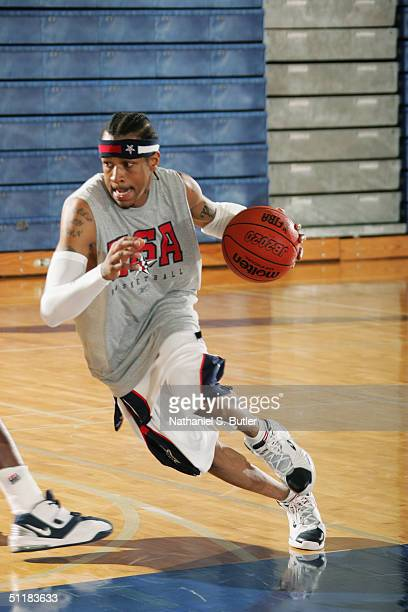 Allen Iverson of the USA Olympic Men's Basketball Team drives during a scrimmage against the Puerto Rico National Team in preparation for the Athens...