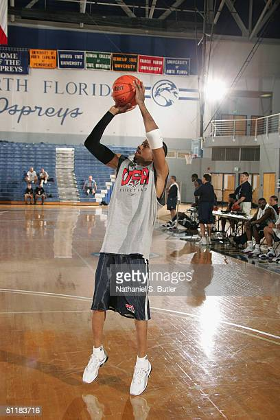 Allen Iverson of the USA Olympic Men's Basketball Team shoots a jump shot during day one of practices in preparation for the Athens 2004 Summer...