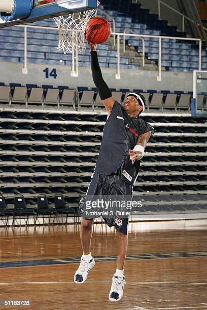 Allen Iverson of the USA Olympic Men's Basketball Team shoots a layup during day two of practices in preparation for the Athens 2004 Summer Olympic...