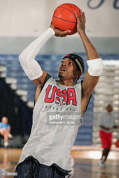 Allen Iverson of the USA Olympic Men's Basketball Team shoots during day three of practices in preparation for the Athens 2004 Summer Olympic Games...
