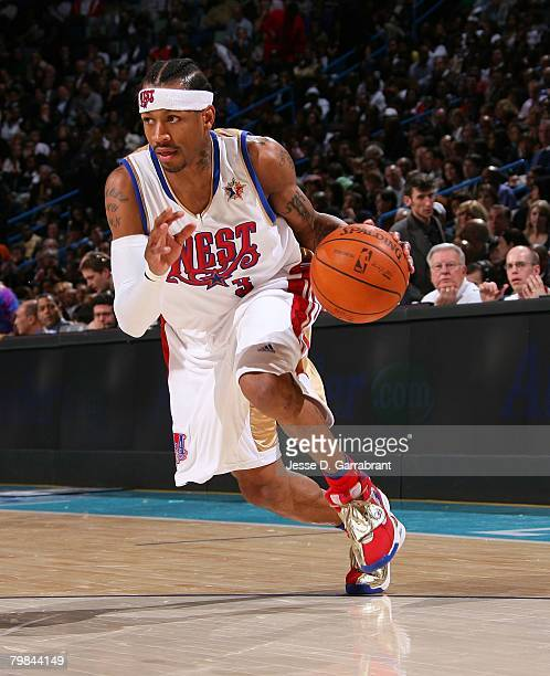 Allen Iverson of the Western Conference drives the ball during the 2008 NBA AllStar Game part of 2008 NBA AllStar Weekend at the New Orleans Arena on...