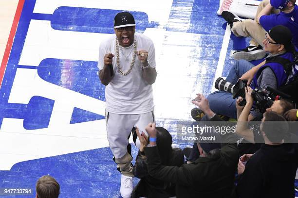 Allen Iverson reacts during the game between the Miami Heat and the Philadelphia 76ers in game two of round one of the 2018 NBA Playoffs on April 16...