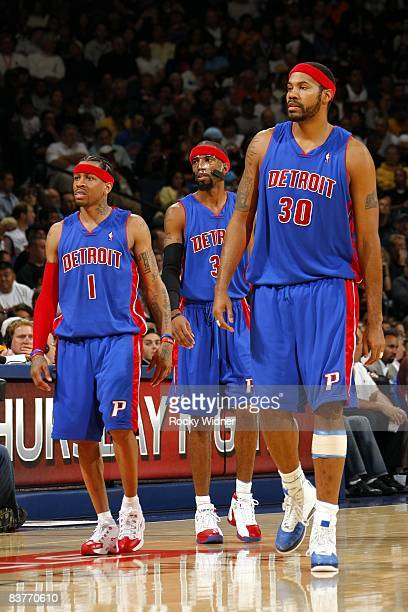 Allen Iverson Richard Hamilton and Rasheed Wallace of the Detroit Pistons take the court against the Golden State Warriors at Oracle Arena on...