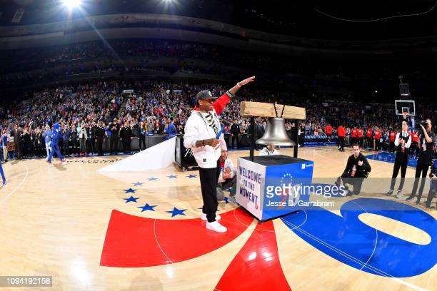 Allen Iverson rings the bell prior to the game between the Philadelphia 76ers and Toronto Raptors on February 5 2019 at the Wells Fargo Center in...