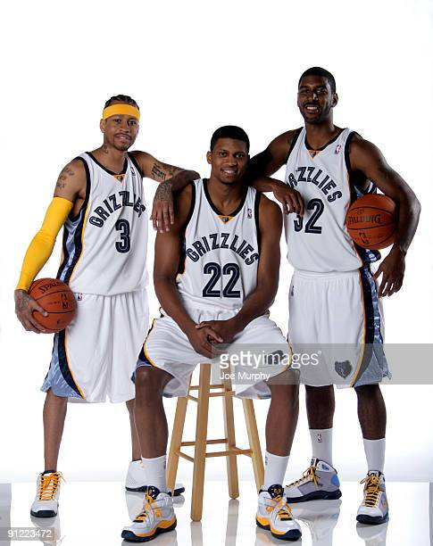 Allen Iverson Rudy Gay and OJ Mayo of the Memphis Grizzlies pose for a portrait during NBA Media Day on September 28 2009 at the FedExForum in...