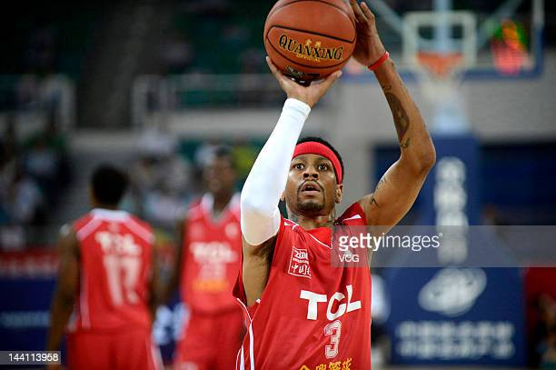 Allen Iverson takes a foul shot in a match against Shanxi Zhongyu during the US Proball Legend China Tour 2012 at Shanxi Sports Center on May 8 2012...
