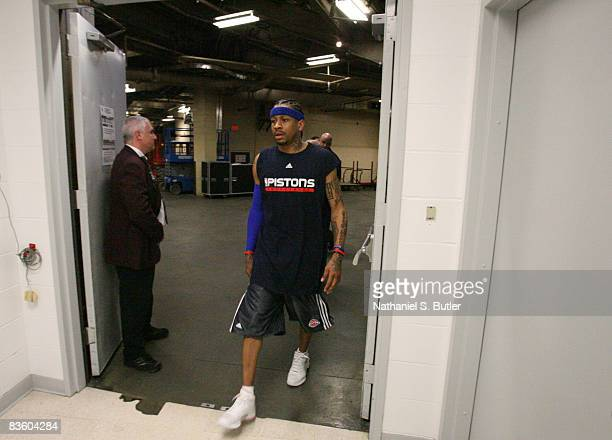 Allen Iverson walks in before his first game as a Detroit Piston against the New Jersey Nets on November 7 2008 at the IZOD Center in East Rutherford...