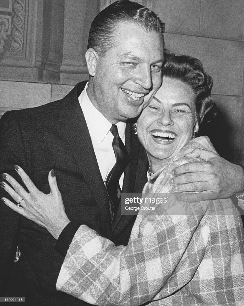 OCT 19 1962, OCT 20 1962; Allen J. Lefferdink is Happy After Acquittal; He gets a hug from Mrs. Mari : News Photo