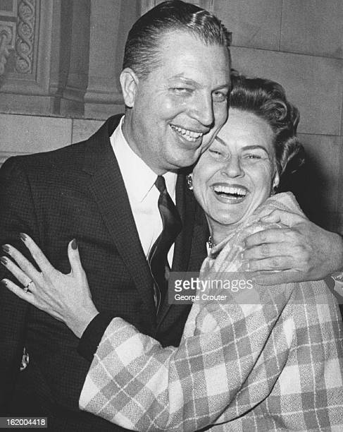 OCT 19 1962 OCT 20 1962 Allen J Lefferdink is Happy After Acquittal He gets a hug from Mrs Marian L Livingston of Boulder Colo who is his fiancee and...