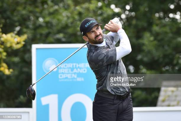 Allen John hits his drive off the 10th tee during day two of the Northern Ireland Open at Galgorm Spa & Golf Resort on September 4, 2020 in...