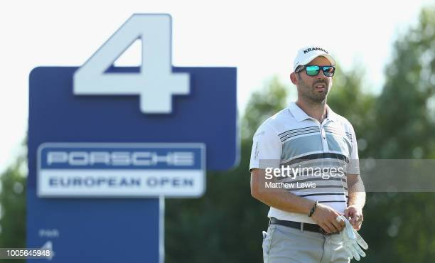 Allen John of Germany looks on on the 4th tee during day one of the Porsche European Open at Green Eagle Golf Course on July 26 2018 in Hamburg...